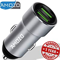 AMOZO 3A Dual Port Rapid Fast Car Charger - Metal Strong Body Shockproof Charger for Car
