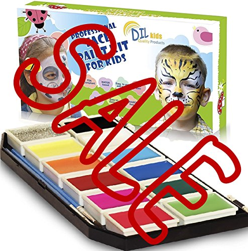 DIL Kids Face Paint Kit for Kids - Stencils, 11 Colors, 1 Glitter, 2 Brushes - Face Painting Palette for Fun-Filled face Designs Beyond Imagination - Double Bonus & Christmas ()