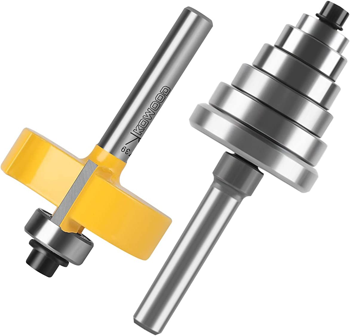 "KOWOOD 1//4/"" Inch Shank 1-3//8/"" Height Multi Rabbet Router Bit Set interchangeable and adjustable bearing. 6 bearings Multiple Depths 1//8, 1//4, 5//16, 3//8, 7//16, 1//2"