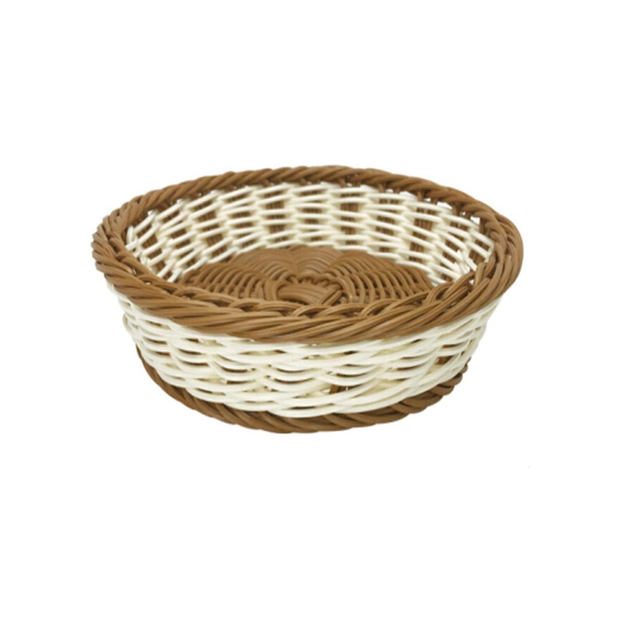 Tongboshi Fruit Basket, Rattan Living Room Creative Fruit Bowl, Bread Basket, Tray Storage Basket, Dried Fruit Basket, Baking Snack Basket, Rice Coffee Two-Color Latest Models (Size : XL)