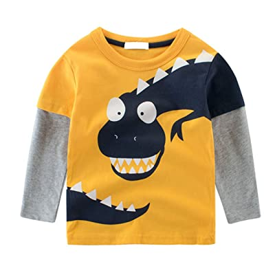 Cruiize Boys Little Kids Cartoon Long Sleeve Toddler Crewneck Funny T-Shirt