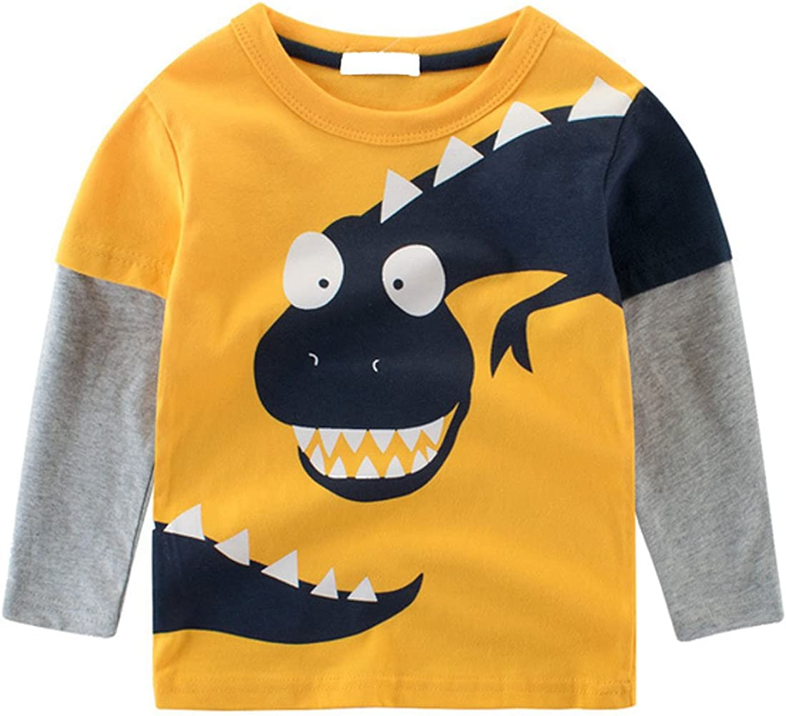 Cruiize Boys Little Kids Cartoon Long Sleeve Toddler Crewneck Funny T-Shirt
