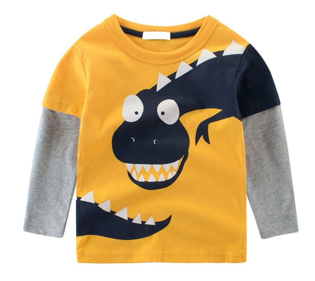 Cruiize Boys Little Kids Cartoon Long Sleeve Toddler Crewneck Funny T-Shirt Yellow 4T