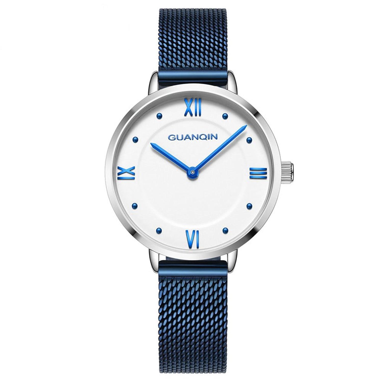 28 mm Unique防水レディース腕時計withスリム本革バンド Men's standard ブルー B07DH9XF4Hブルー