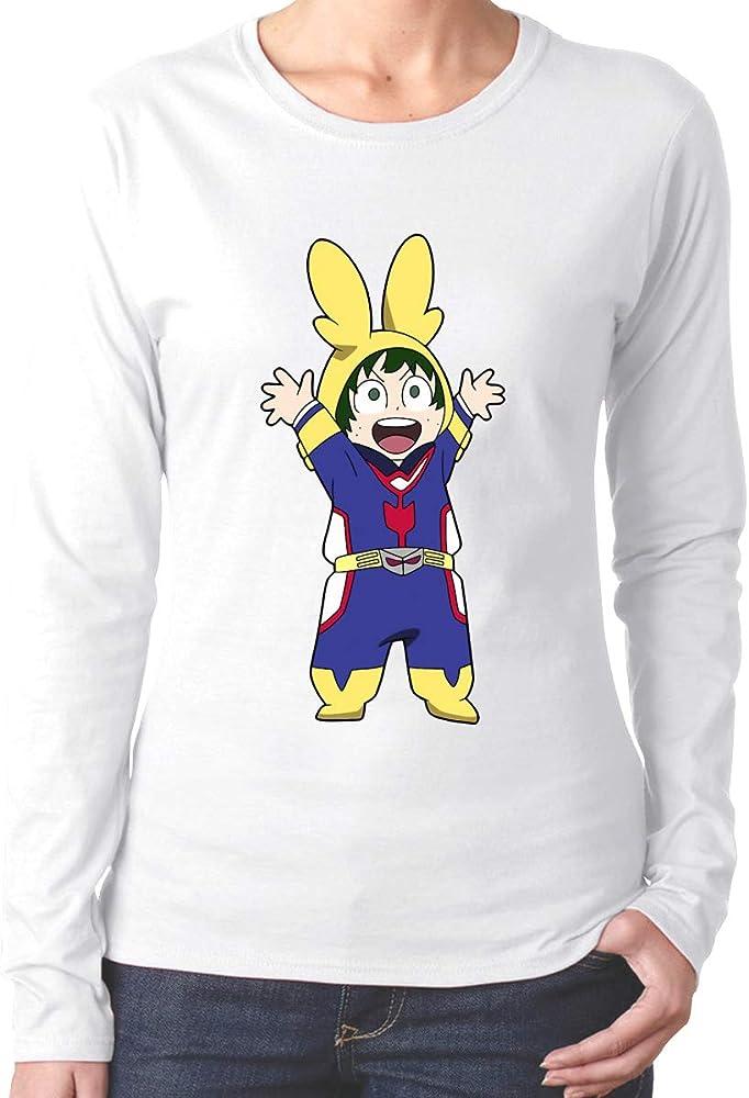 Saitama Cool Boku No Hero Academia Deku All Might - Camiseta de Manga Larga con Cuello Redondo para Mujer Blanco Blanco M: Amazon.es: Ropa y accesorios
