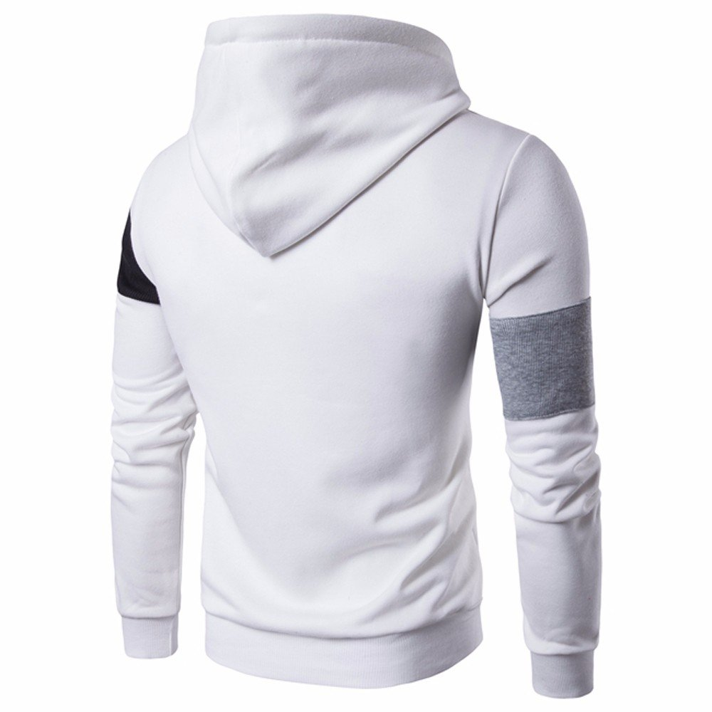 Mens Panel Jacket Sweater Side Pocket Sweatshirt Hoodie Long Sleeve Jacket