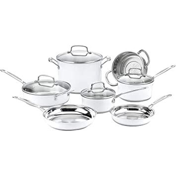 Cuisinart chef de Classic inoxidable Color Serie 11 piezas (blanco), color blanco
