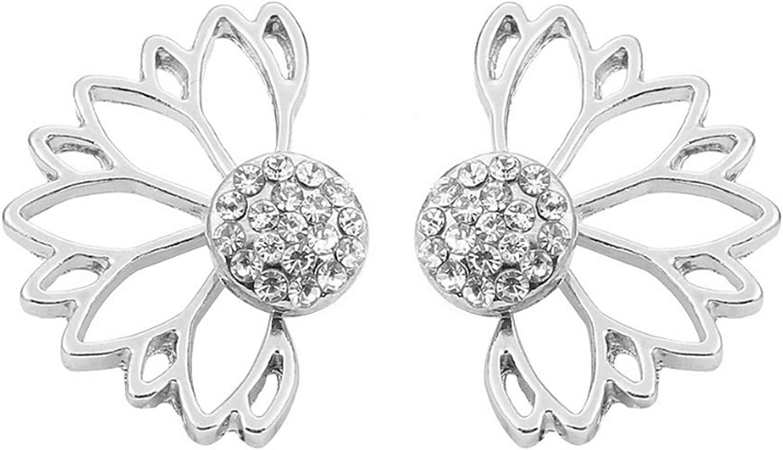 Ookmngft Pendientes para mujer Diseño de personalidad Pearl Lotus Frente y parte posterior Estilo de mujer Pendientes llenos de diamantes vacíos