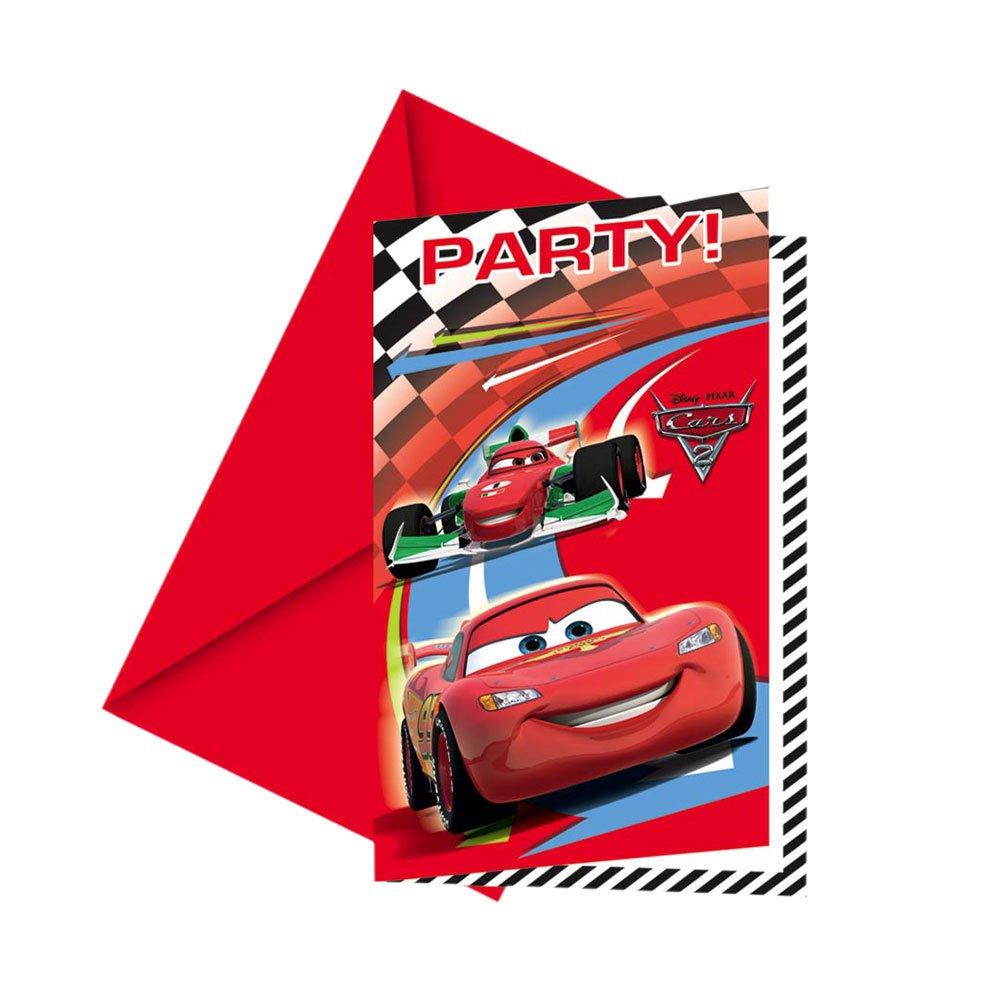 Disney Cars 2   Einladungskarten + Umschläge, 6 Stück: Amazon.de: Spielzeug