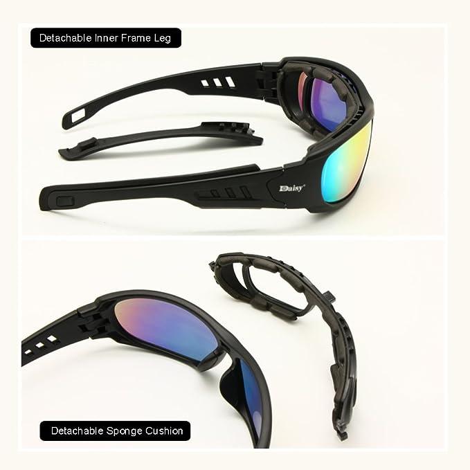 11808aaf1d Amazon.com  Daisy C6 Polarized Ballstic Army Sunglasses Military Goggles Rx  Insert Combat War Game Tactical Glasses (black