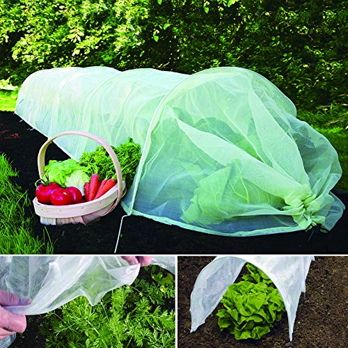 YIDIE Garden Hoop Tunnel 10-1023 Insect Micromesh Grow Plant Cover Protection Protector Cloches with Hoop,10' Long x 18