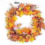 Sunward Christmas Fall Wreath with Mixed Maple Leaves, Thanksgiving Wreath,30/40/50cm (Orange4(50cm))
