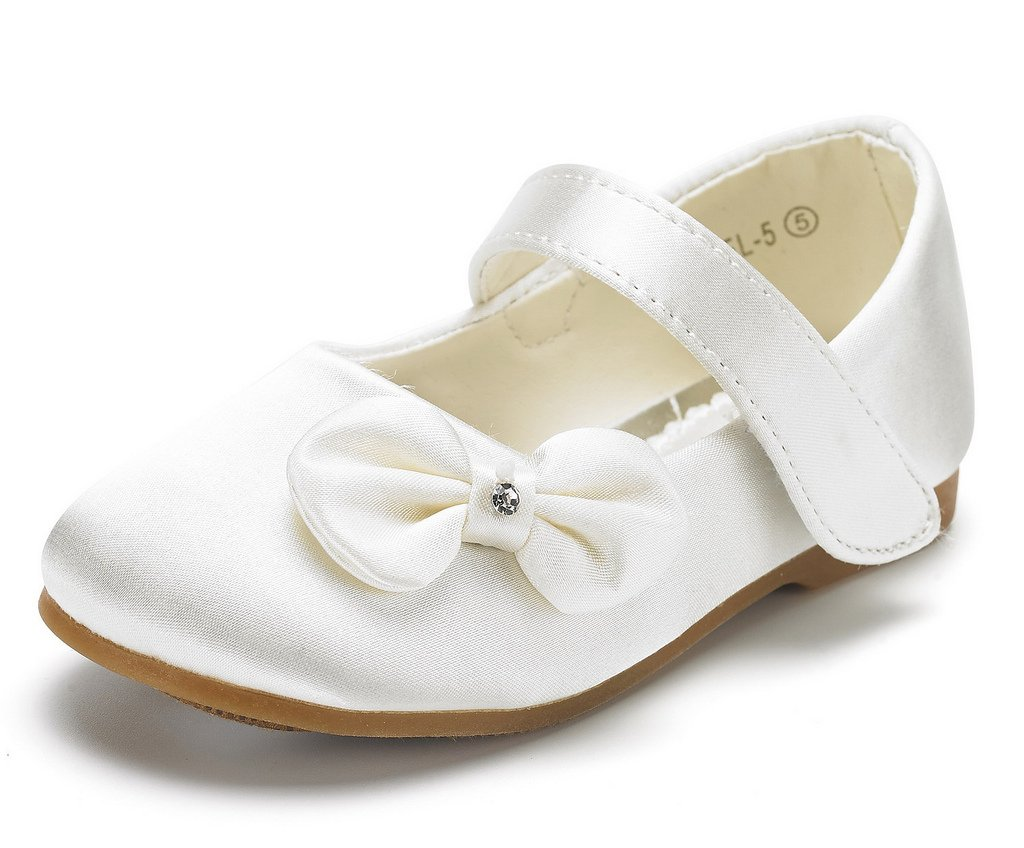 DREAM PAIRS Angel-5 Adorable Mary Jane Side Bow Velcro Strap Ballerina Flat (Toddler/Little Girl) New Ivory Satin Size 8