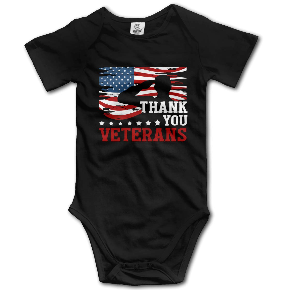 Baby Girls Soldiers Veterans USA Flag Short Sleeve Climbing Clothes Playsuit Suit 6-24 Months