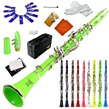 ROFFEE clarinet beginner student level 26N B flat green ABS nickel plated 17 keys Bb tone with 2 berrels,case,10 reeds…