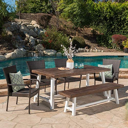 Christopher Knight Home Cecilia Outdoor 6 Piece Stacking Multibrown Wicker Dining Set
