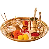 URBAN HAAT Hand Made Brass Puja Thali Set (410 Gram Weight, 10 inch Diameter)