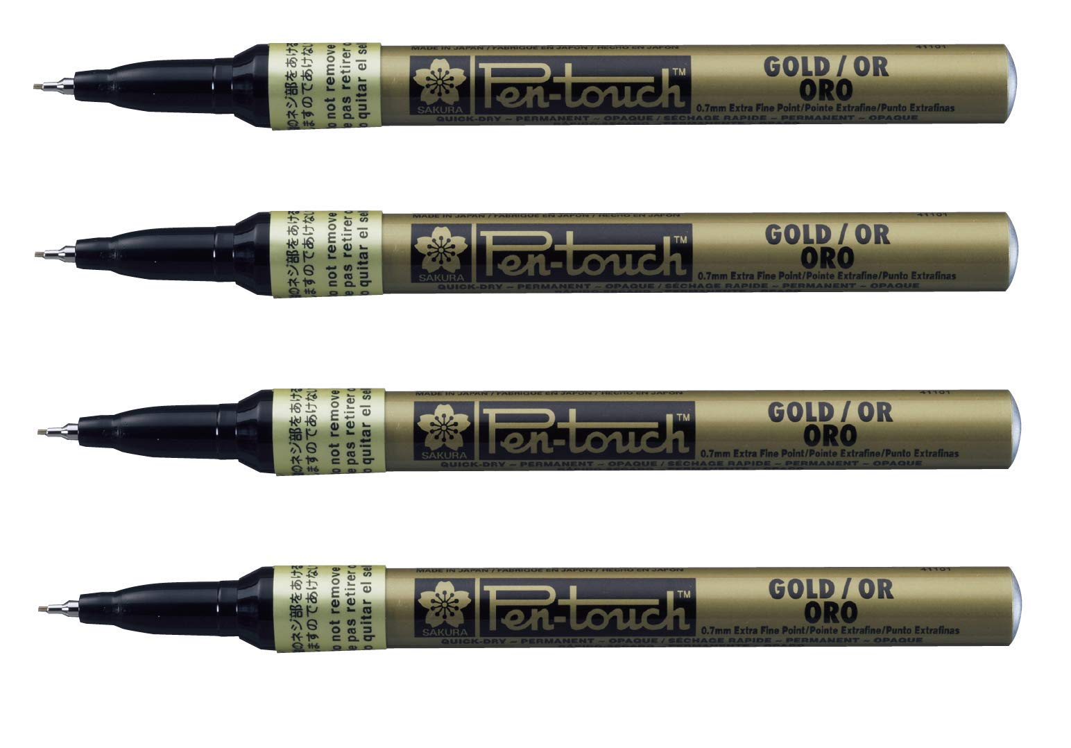 Sakura Pen-Touch Paint Marker 0.7 mm Extra fine metallic Gold color, Pack of 4