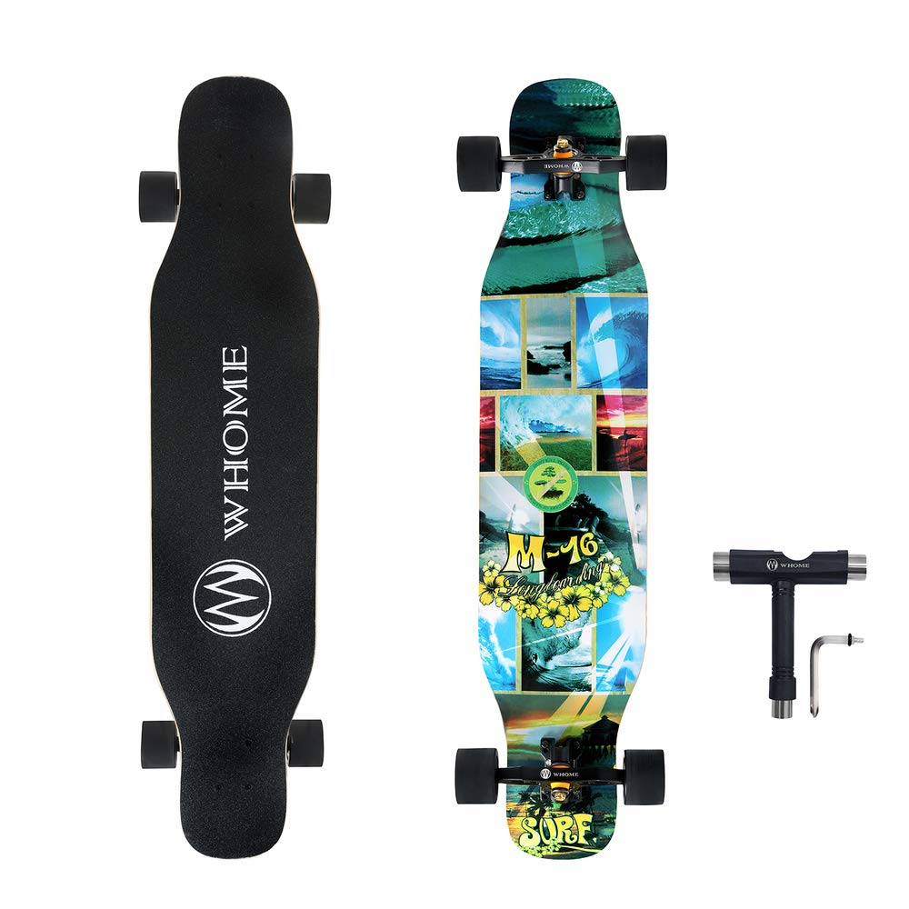 WHOME PRO Dancing Longboard Complete for Adults and Beginners - 42 Inch Dancing Boarding Skateboards for Dancing Cruising Carving Freestyle 8 Layers Maple Includes T-Tool
