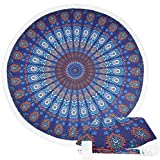 Leana Collection Round 'Roundie' Beach Towel Thick Terry with Fringe Tassels - Various Designs & Colors (Purple Mandala)