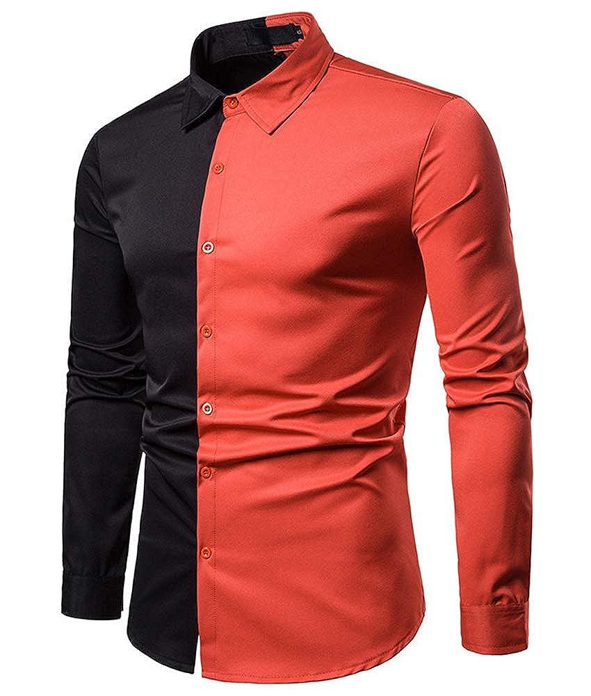 HOP FASHION Mens Casual Dress Shirts Gold Embroidery Mandarin Collar Long Sleeve Shirt