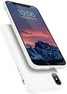 Segoi Liquid Silicone Case Compatible with iPhone XsMax 6.5 inch, Gel Rubber Full Body Protection Shockproof Cover Case Drop Protection Case - White