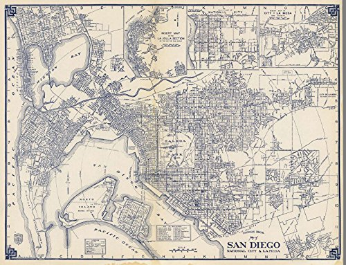 State Atlas | 1938 Thomas Bros. Map of San Diego, National City & La Mesa, California. | Historic Antique Vintage Reprint by historic pictoric