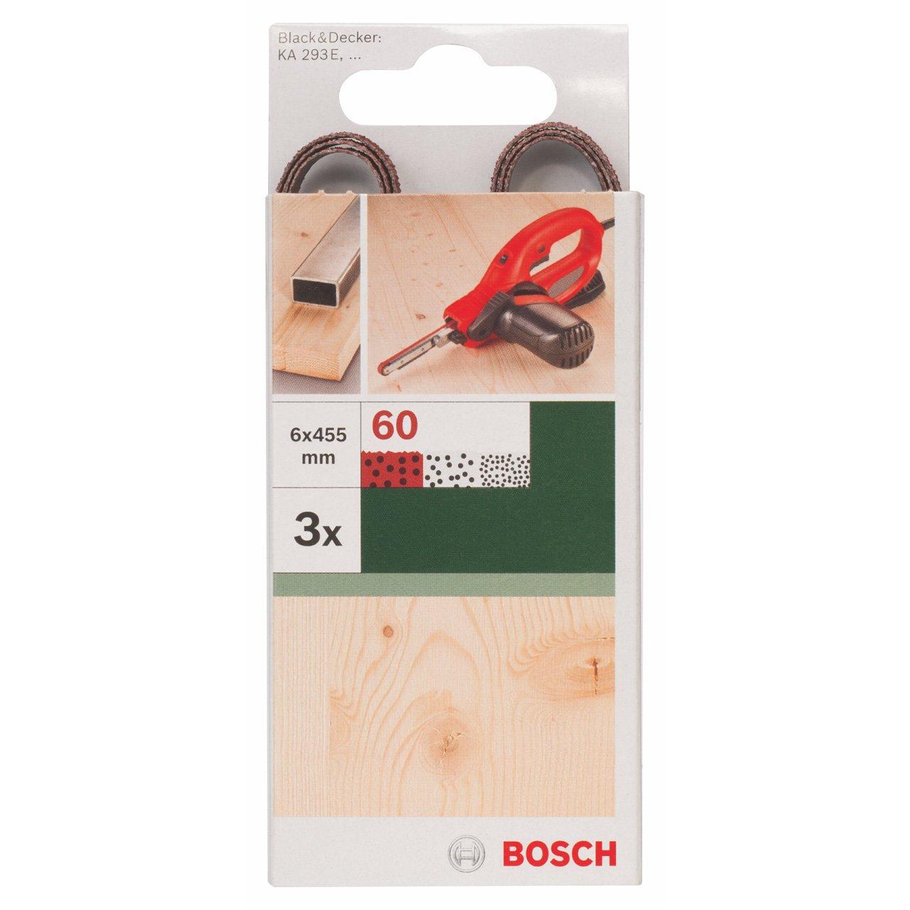 Bosch 2609256235 Bande abrasive pour Ponceuse Black Decker Powerfile Grain 60 6 x 451 mm Bois 3 pi/èces