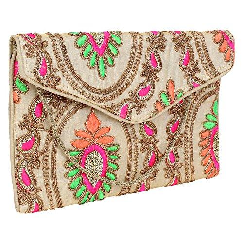 Brazeal Studio Women's Embroidered Fabric Ethnic Clutch Beige