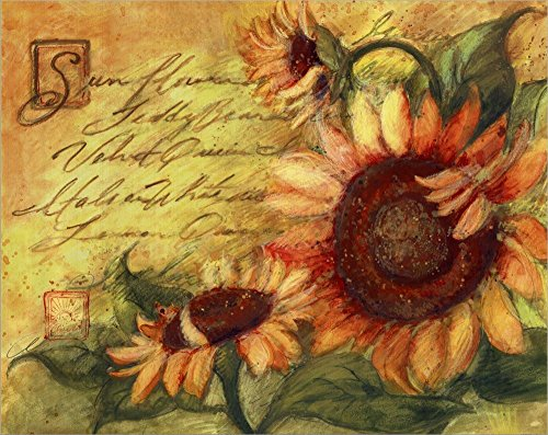 Sunflowers On Gold by Susan Winget Laminated Art Print, 20 x 16 inches