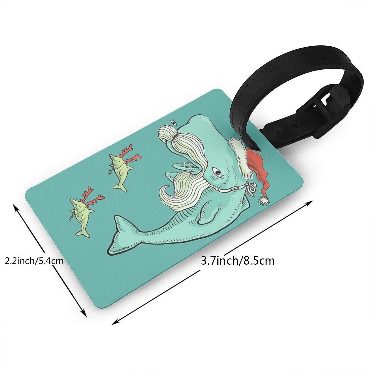 Set of 2 Christmas Whale Luggage Tags Suitcase Labels Bag Travel Accessories