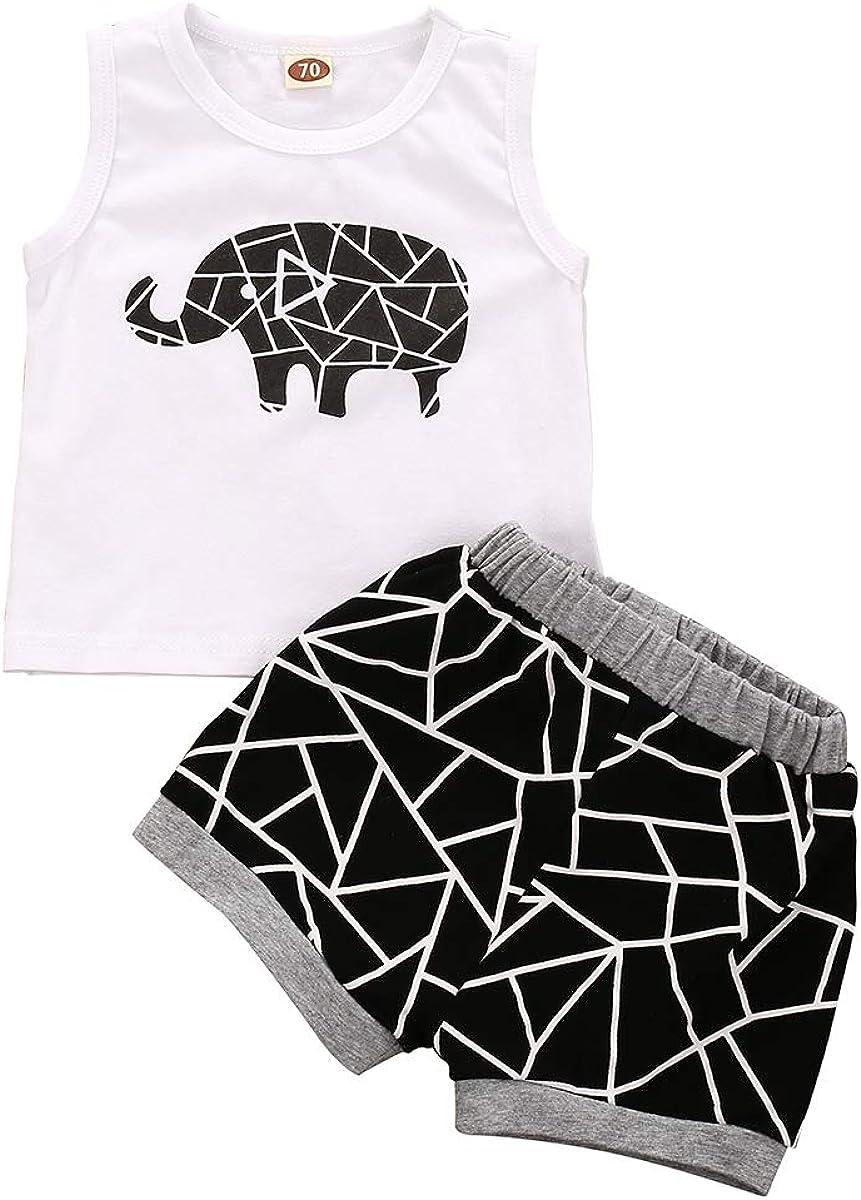Baby Boy Clothes Shark Doo Doo Doo Print Summer Cotton Sleeveless Outfits Set Tops Short Pants