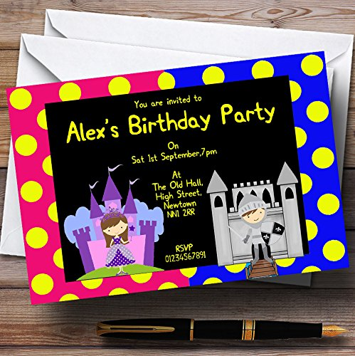 - Princess And Knight Personalized Birthday Party Invitations