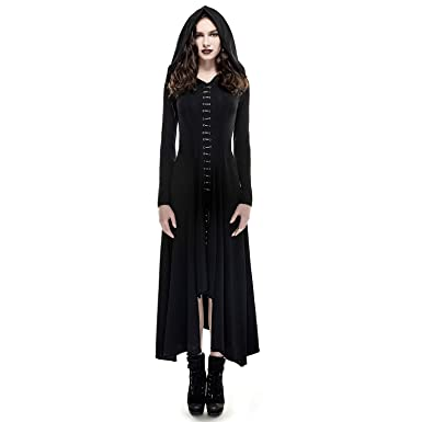 3a03204b4f4 PUNKRAVE Womens Black Gothic Clothing Asymmetrical Split Long Dress Goth  Outfits with Hoodie L