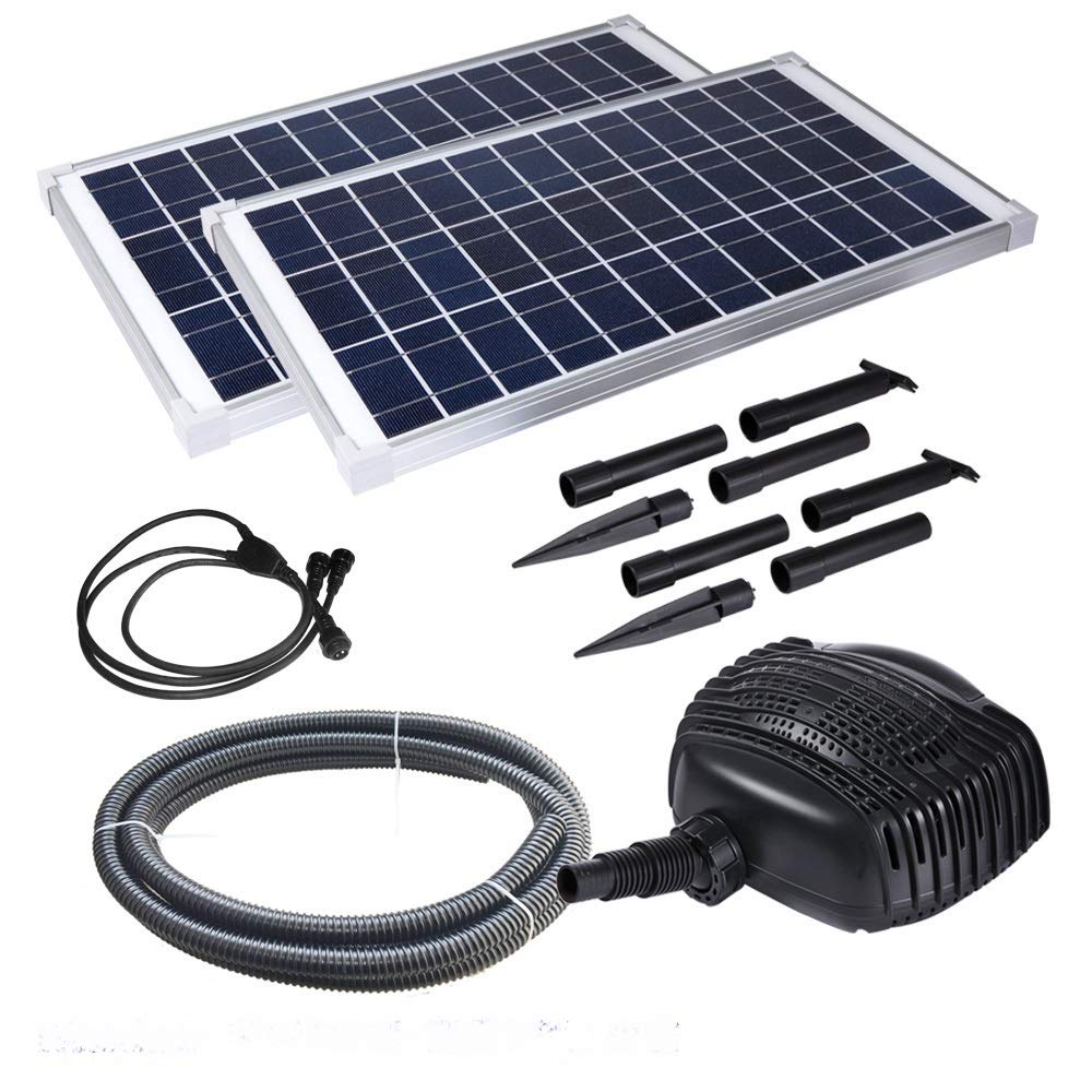 AQUAPLANCTON MNP SP100 100W Twin Panel Solar Powered Pond Pump Kit with Two Panels Max 1,268 GPH KIY Weighs Over 31 pounds and Includes 16 feet of Hose by My Natural Pond