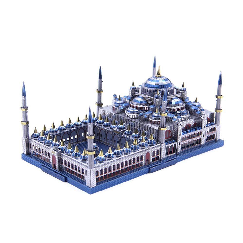 3D Metal Puzzel Assembly Architecture Model Building Kit DIY Laser Cut Jigsaw Toy - Microworld J029 Turkey Blue Mosque (Sultan Ahmed Mosque)