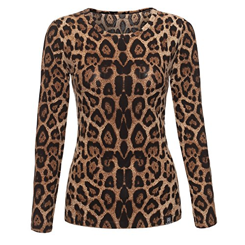 Women's Round Crew Neck Leopard Printed Fashion T-Shirt Long Sleeve Tops (Leopard, (Printed Crewneck Knit Top)