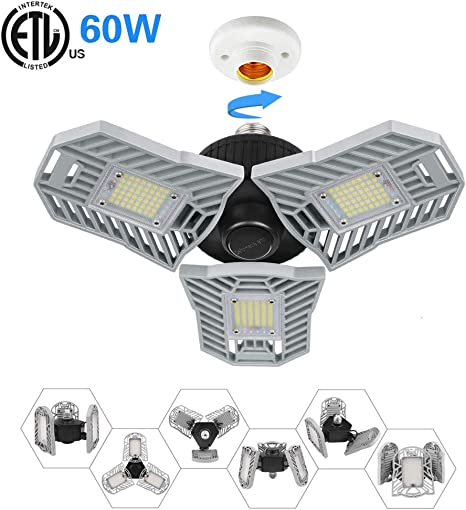 LED Garage Light, Befayoo 60W Deformable Garage Ceiling Lights, 6000 Lumens Adjustable Trilight Garage Light, Security Flood Light, E26 Standard Base for Garage, Porch Outdoor ETL- Certified