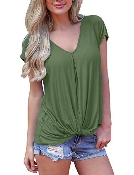 fcc2aa7a Shirts for Women Ladies Short Sleeve Tops Twist Knot Tunics Solid Color  ArmyGreen S
