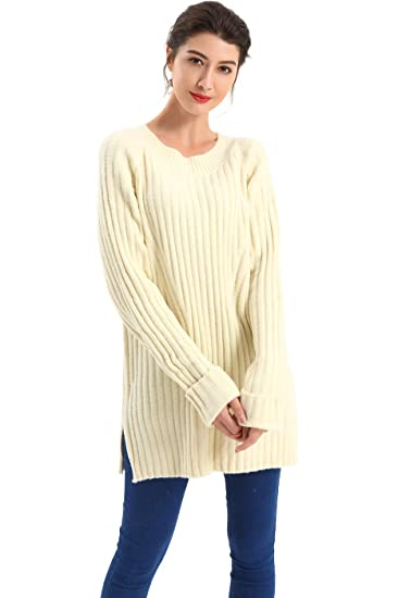 83ee6302eef BodiLove Women's Boat Neck Oversize Ribbed Knit Tunic Sweater at Amazon  Women's Clothing store: