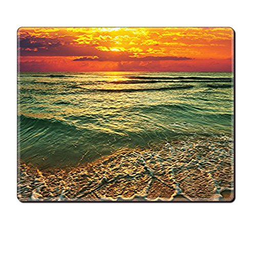 Mouse Pad Unique Custom Printed Mousepad Ocean Decor Collection Serenity View Of Mystic Sunset At Dusk Behind Dense Clouds Wavy Sea And Sandy Beach Picture Teal Orange Ivory Stitched Edge Non Slip Rub