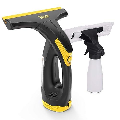 TECCPO Limpiador de Ventanas a Batería Aspirador de Ventanas con Mopa Microfibras y Sprayn Botalla Limpiacristales 3 6V Batería de Litio y Cargador TDWC01G