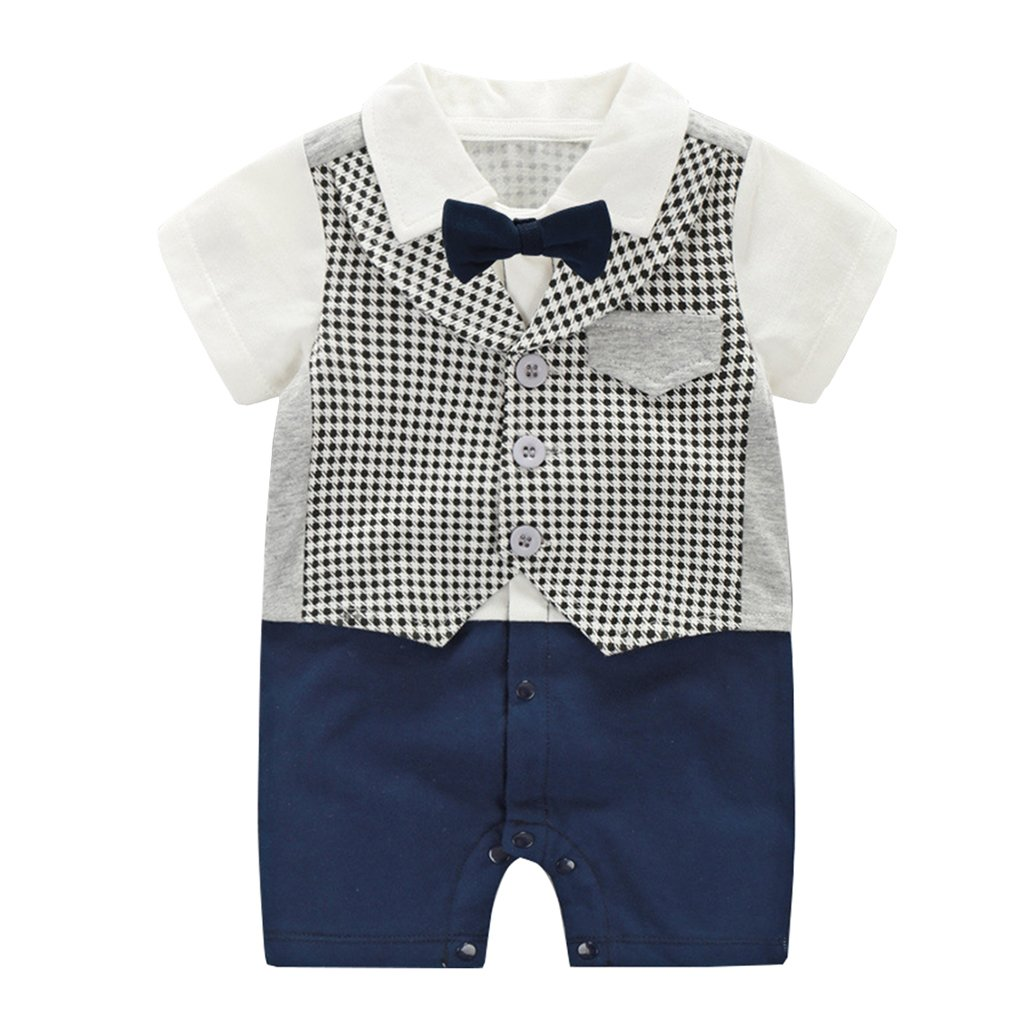 Baby Boys Suit Gentleman Romper Short Sleeve Jumpsuit Shirt with Bow Tie Bodysuit Festival Baptism Wedding Formal Party Outfits Vine Trading Co. Ltd K180626PF00129V