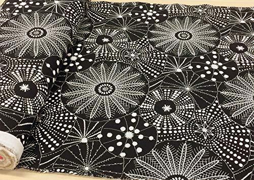 北欧風 生地 綿麻 キャンバス 布【ブラック】くらげ 北欧 北欧調 コットンリネン布地 手芸【1m単位】の商品画像