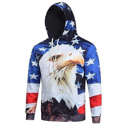 YUVUMVS Otoño Fashoin American Eagle Bandera con Capucha Sudadera Hombre Nueva Primavera con cordón Hoodies Svitshot