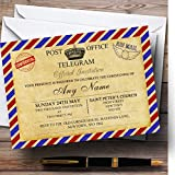 Vintage Airmail Telegram Postcard Christening Party Personalized Invitations