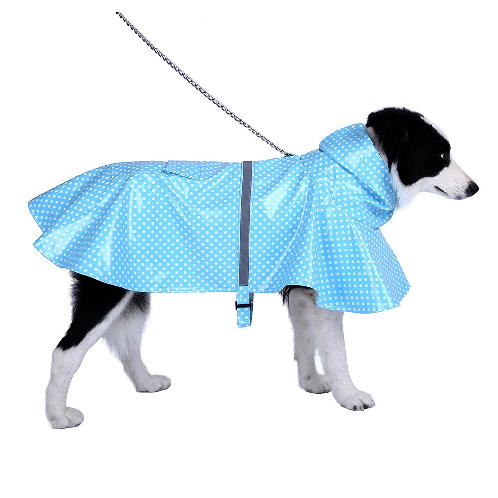 Adjustable and Lightweight Dot Dog Raincoat Waterproof and Breathable Pet Rain Jacket Poncho with Safe Reflective Strips (L, BLUE)