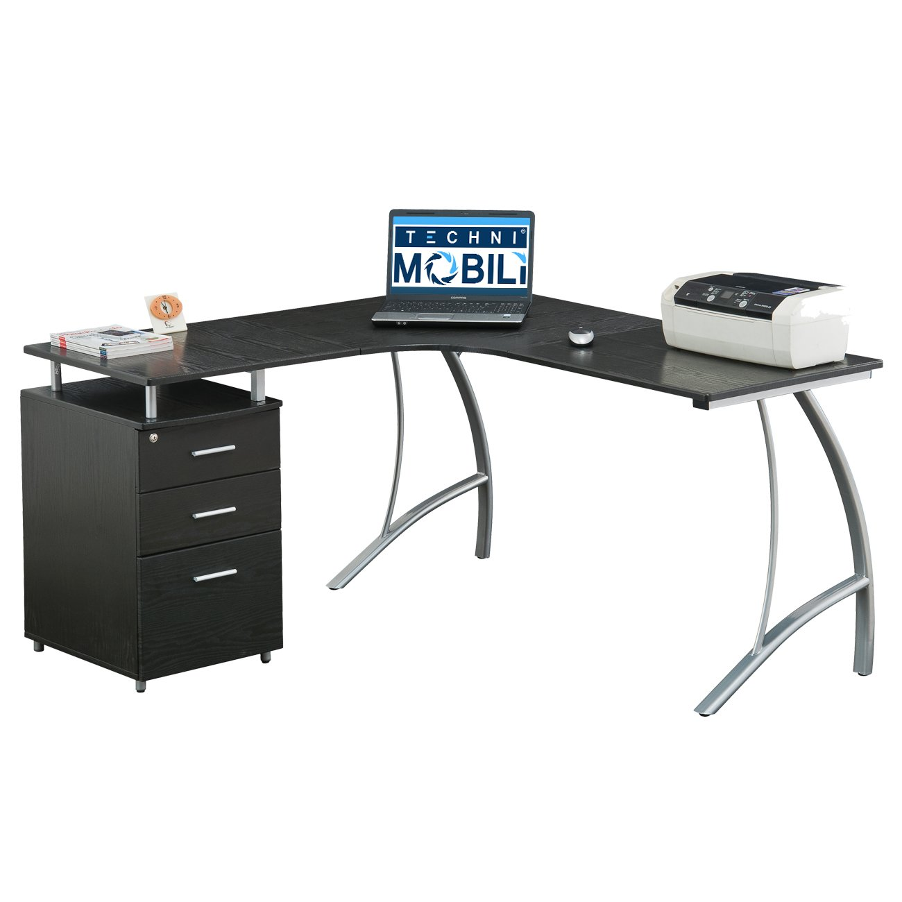 Amazon.com: TECHNI MOBILI Modern L- Shaped Computer Desk with File ...