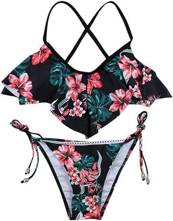 Bañadores Mujer Subfamily, Sujetador para Mujer Sujetador con Relleno Floral Bikini Conjunto Traje de Baño Conjunto de Traje de baño Dividido en Bikini de Flor Sexy para Mujer