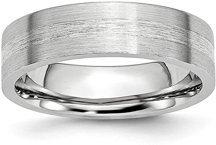 Cobalt Sterling Silver Inlay Satin//Polished Beveled Edge 8mm Band